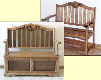 wildlife decor, Wooden Benches, solid wood benches, oak bench
