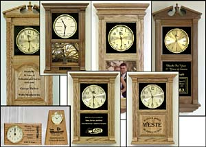 Personalized Wedding Clocks,  custom etched anniversary clocks, custom laser etched clocks