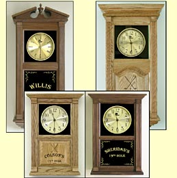 custom etched clocks and golfing clock