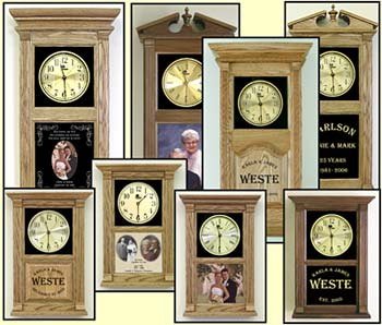 Personalized Wedding Clocks and etched wedding photo clocks