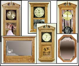 wooden clock, wall clocks, mantel clock, decorative mirrors, stained glass clock, etched mirror