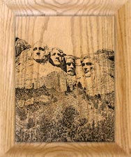 etched Mt. Rushmore clock