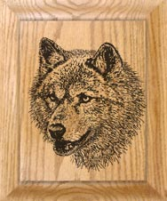 wolf clock etching