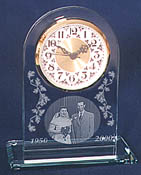 etched glass arch clock