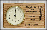 custom oak clocks, memorial clocks, retirement award, personalized clock