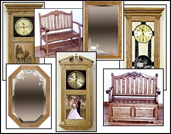 handcrafted furniture, clocks, benches, mirrors, deacons bench, photo etching, custom clocks, stained glass clocks