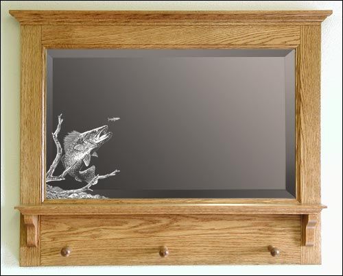 Fishing Themed Mirrors Etched Fisherman Mirror Decorative Etched Mirror