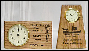 awards clock, personalized wooden clocks